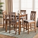 Baxton Studio Darcie Modern and Contemporary Grey Fabric Upholstered and Walnut Brown Finished Wood 5-Piece Pub Set - RH324P-Grey/Walnut-5PC Pub Set