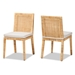 Baxton Studio Sofia Modern and Contemporary Natural Finished Wood and Rattan 2-Piece Dining Chair Set