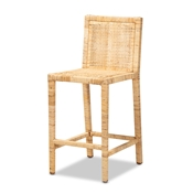 Baxton Studio Sofia Modern and Contemporary Natural Finished Wood and Rattan Counter Stool