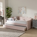 Baxton Studio Lennon Modern and Contemporary Pink Velvet Fabric Upholstered Twin Size Daybed with Trundle - CF9172-Pink Velvet Velvet-Daybed-T/T