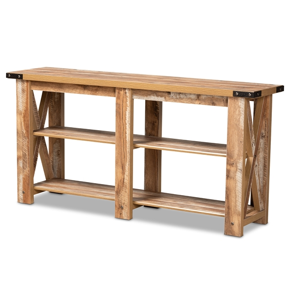 Baxton Studio Angelo Modern and Contemporary Rustic Oak Brown Finished Wood Console Table