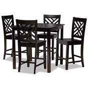 Baxton Studio Caron Modern and Contemporary Dark Brown Finished Wood 5-Piece Pub Set