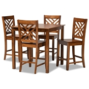 Baxton Studio Caron Modern and Contemporary Walnut Brown Finished Wood 5-Piece Pub Set