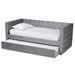 Baxton Studio Larkin Modern and Contemporary Grey Velvet Fabric Upholstered Twin Size Daybed with Trundle - CF9227-Silver Grey Velvet-Daybed-T/T