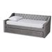 Baxton Studio Raphael Modern and Contemporary Grey Velvet Fabric Upholstered Twin Size Daybed with Trundle