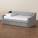 Baxton Studio Raphael Modern and Contemporary Grey Velvet Fabric Upholstered Twin Size Daybed with Trundle - CF9228 -Silver Grey Velvet-Daybed-T/T