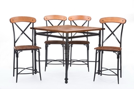 Baxton Studio Broxburn Light Brown Wood & Metal 5-Piece Pub Set Baxton StudioBroxburn Light Brown Wood & Metal 5-Piece Pub Set, wholesale furniture, restaurant furniture, hotel furniture, commercial furniture