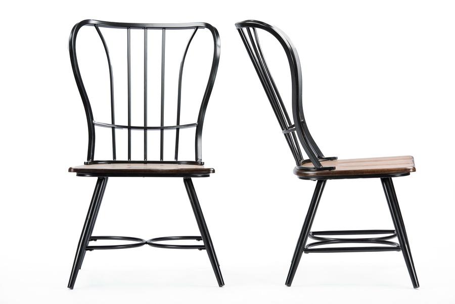 Baxton Studio Longford Dark Walnut Wood And Black Metal Vintage Dining Chair