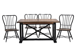 "Baxton Studio Longford ""Dark-Walnut"" Wood and Black Metal Vintage Industrial 7-Piece Dining Set Baxton StudioLongford ""Dark-Walnut"" Wood and Black Metal Vintage Industrial 7-Piece Dining Set, wholesale furniture, restaurant furniture, hotel furniture, commercial furniture"