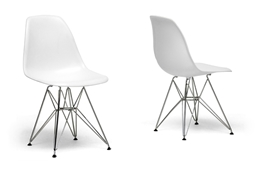 Baxton Studio White Plastic Side Chair Set of 2