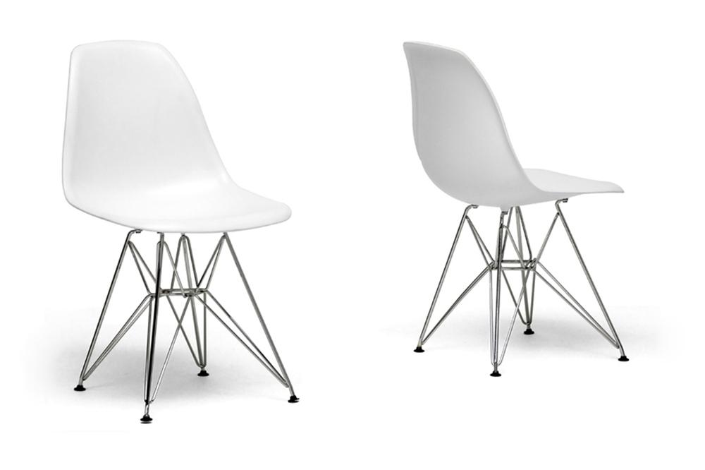 Baxton Studio White Plastic Side Chair Set of 2