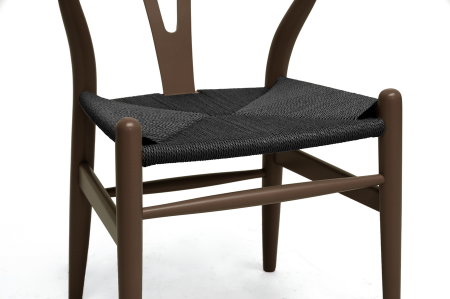 Baxton Studio Wishbone Chair Brown Wood Y Chair With Black Seat Wholesale Interiors