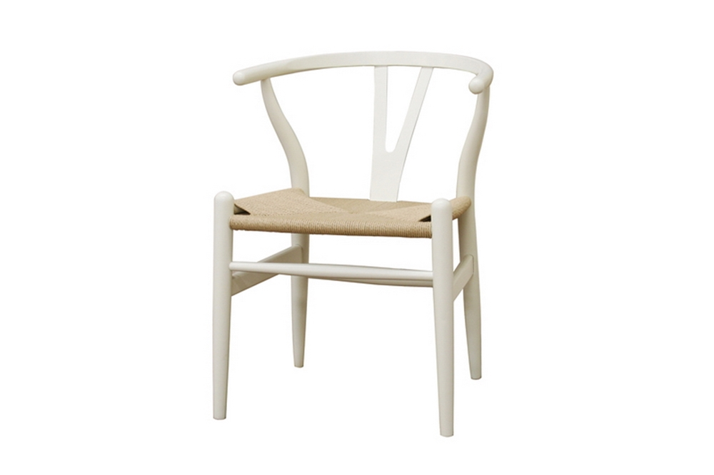 Baxton Studio Wishbone Chair - Ivory Wood Y Chair (Set of 2)