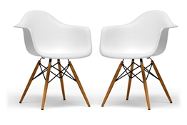 Baxton Studio Pascal White Plastic Chair Set of Two