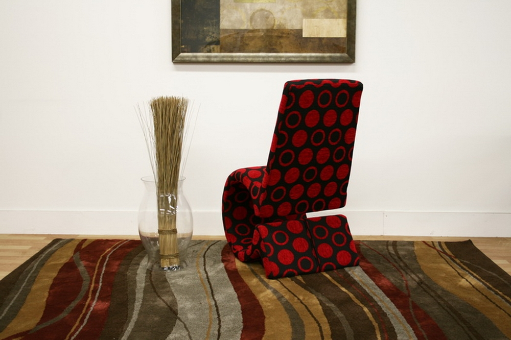 Forte red and black patterned fabric accent chair for Patterned living room chair