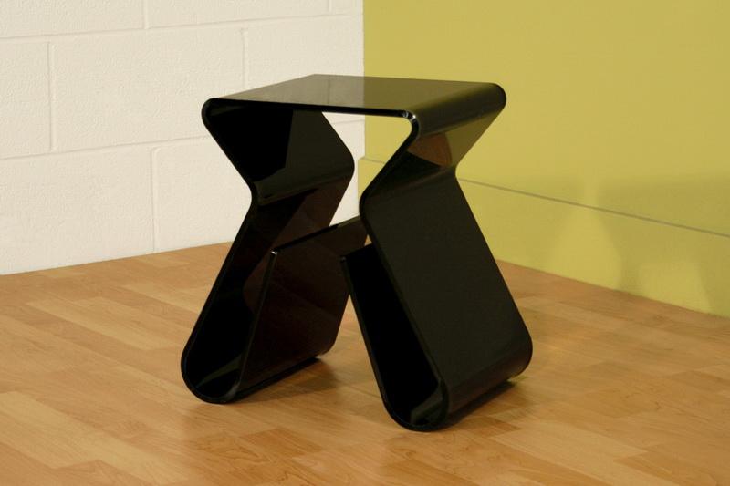 Acrylic Black End Table With Magazine Rack