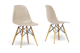Baxton Studio Azzo Beige Plastic Mid-Century Modern Shell Chair  (Set of 2)
