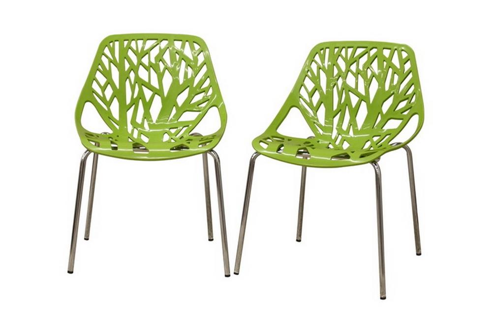 Baxton Studio Birch Sapling Green Plastic Modern Dining Chair (Set of 2)