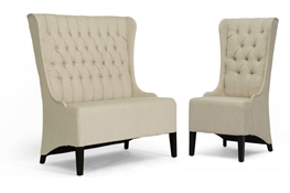 Baxton Studio Vincent Beige Linen Modern Loveseat Bench and Chair Set
