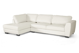Baxton Studio Orland White Leather Modern Sectional Sofa Set with Left Facing Chaise