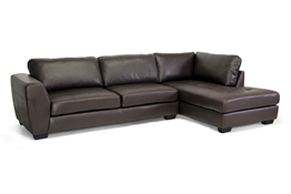 Baxton Studio Orland Brown Leather Modern Sectional Sofa Set with Right Facing Chaise