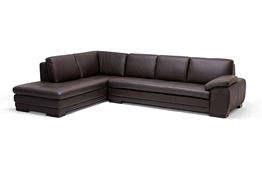 Baxton Studio Diana Dark Brown Sofa/Chaise Sectional Reverse