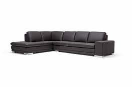Baxton Studio Callidora Dark Brown Leather-Leather Match Sofa Sectional Reverse