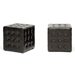 Baxton Studio Siskal Dark Brown Modern Cube Ottoman (Set of 2)