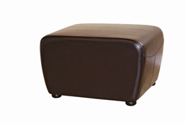 Baxton Studio Dark Brown Full Leather Ottoman with Rounded Sides