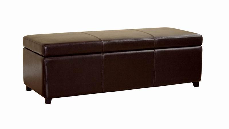 Baxton Studio Dark Brown Full Leather Storage Bench Ottoman with Stitching