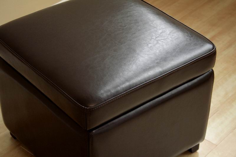 Dark Brown Full Leather Small Storage Cube Ottoman