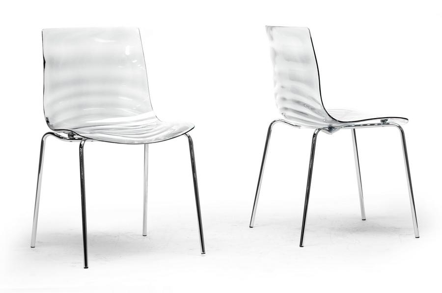 Baxton Studio Marisse Clear Plastic Modern Dining Chair (Set of 2)