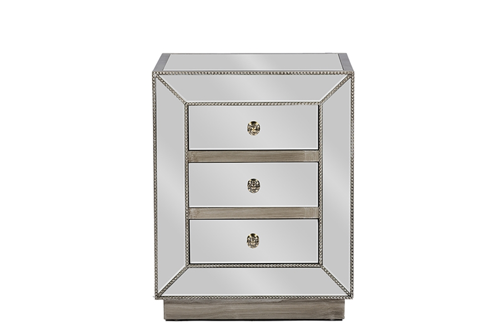 Baxton Studio Currin Contemporary Mirrored 3-Drawer NightstandOne (1) Nightstand