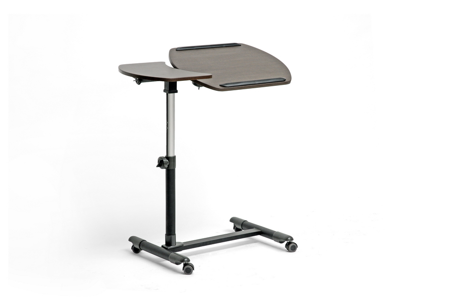 Baxton Studio Olsen Brown Wheeled Laptop Tray Table with Tilt Control