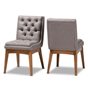 Baxton Studio Makar Modern Transitional Grey Fabric Upholstered and Walnut Brown Finished Wood 2-Piece Dining Chair Set Baxton Studio restaurant furniture, hotel furniture, commercial furniture, wholesale dining room furniture, wholesale dining chairs, classic dining chairs