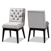 Baxton Studio Makar Modern Transitional Light Grey Fabric Upholstered and Walnut Brown Finished Wood 2-Piece Dining Chair Set Baxton Studio restaurant furniture, hotel furniture, commercial furniture, wholesale dining room furniture, wholesale dining chairs, classic dining chairs