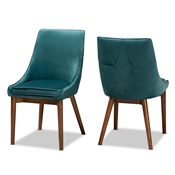 Baxton Studio Gilmore Modern and Contemporary Teal Velvet Fabric Upholstered and Walnut Brown Finished Wood 2-Piece Dining Chair Set Baxton Studio restaurant furniture, hotel furniture, commercial furniture, wholesale dining room furniture, wholesale dining chairs, classic dining chairs