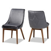 Baxton Studio Gilmore Modern and Contemporary Grey Velvet Fabric Upholstered and Walnut Brown Finished Wood 2-Piece Dining Chair Set Baxton Studio restaurant furniture, hotel furniture, commercial furniture, wholesale dining room furniture, wholesale dining chairs, classic dining chairs