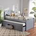 Baxton Studio Mariana Traditional Transitional Grey Finished Wood Twin Size 3-Drawer Storage Bed with Pull-Out Trundle Bed - Mariana-Grey-3DW-Twin