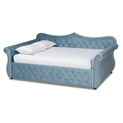 Baxton Studio Abbie Traditional and Transitional Light Blue Velvet Fabric Upholstered and Crystal Tufted Queen Size Daybed