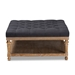 Baxton Studio Kelly Modern and Rustic Charcoal Linen Fabric Upholstered and Greywashed Wood Cocktail Ottoman - JY-0001-Charcoal/Greywashed-Otto