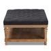 Baxton Studio Lindsey Modern and Rustic Charcoal Linen Fabric Upholstered and Greywashed Wood Cocktail Ottoman - JY-0002-Charcoal/Greywashed-Otto
