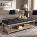 Baxton Studio Linda Modern and Rustic Charcoal Linen Fabric Upholstered and Greywashed Wood Storage Bench - JY-0003-Charcoal/Greywashed-Bench