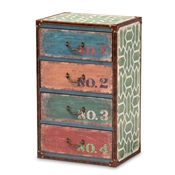 Baxton Studio Amandine Vintage Rustic French Inspired Multicolor Finished Wood 4-Drawer Accent Storage Cabinet