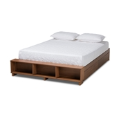 Baxton Studio Arthur Modern Rustic Ash Walnut Brown Finished Wood Queen Size Platform Bed with Built-In Shelves