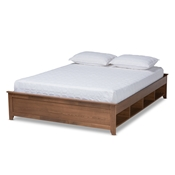 Baxton Studio Anders Traditional and Rustic Ash Walnut Brown Finished Wood Queen Size Platform Storage Bed Frame with Built-In Shelves