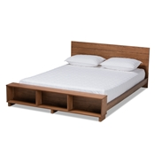 Baxton Studio Regina Modern Rustic Ash Walnut Brown Finished Wood Queen Size Platform Storage Bed with Built-In Shelves