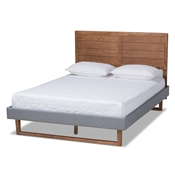 Baxton Studio Gabriela Rustic Modern Dark Grey Fabric Upholstered and Ash Walnut Brown Finished Wood Queen Size Platform Bed