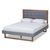 Baxton Studio Emele Modern Transitional Dark Grey Fabric Upholstered and Ash Walnut Brown Finished Wood Queen Size Platform Bed