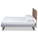 Baxton Studio Eloise Rustic Modern Light Grey Fabric Upholstered and Ash Walnut Brown Finished Wood Queen Size Platform Bed - Eloise-Light Grey/Ash Walnut-Queen